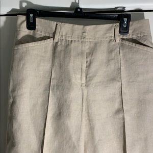 J Crew 100% Linen Pants- size T 8 . Cuffed hem